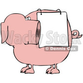 Clipart Illustration of a Pink Pig Looking Back At A Sign Draped On His Side © Dennis Cox #43700