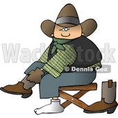 Cowboy Putting Boots On Feet Clipart © Dennis Cox #4371