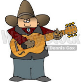 Country Cowboy Playing an Acoustic Guitar Clipart © Dennis Cox #4373