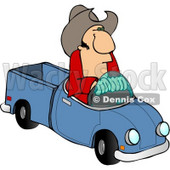 Cowboy Driving a Small Toy Pickup Truck Clipart © Dennis Cox #4374