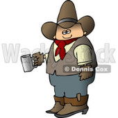 Morning Cowboy Holding a Cup of Fresh Hot Coffee Clipart © Dennis Cox #4376