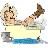 Redneck Cowboy Bathing with Hat and Boots On Clipart © Dennis Cox #4378