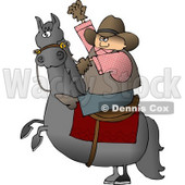 Cowboy Riding a Bucking Bronco/Horse Clipart © Dennis Cox #4380