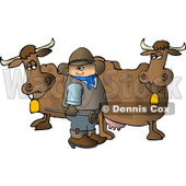 Cowboy Standing Beside Milk Cows with a Hot Branding Iron Clipart © djart #4382