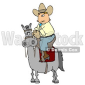 Cowboy Riding High On a Horse Clipart © Dennis Cox #4383