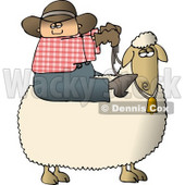 Young Preteen Cowboy Riding a Sheep Clipart © Dennis Cox #4384