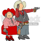 Cowboy and Cowgirl Couple Target Practicing with Pistols and a Rifle Clipart © Dennis Cox #4387