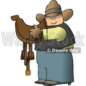 Cowboy Carrying a Brown Leather Horse Saddle Clipart © Dennis Cox #4388