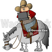 Cowboy Using a Portable, Wireless Laptop Computer While Sitting On a Saddled Horse Clipart © Dennis Cox #4391