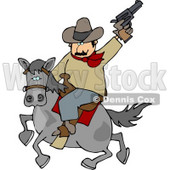 Cowboy Riding Horse While Pointing and Shooting Gun Into the Air Clipart © Dennis Cox #4396