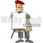 Clipart Illustration of a Male Portrait Artist Setting Up A Blank Canvas On An Easel © djart #43975