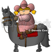 Teenage Cowgirl Riding a Saddled Horse with Reins Clipart © Dennis Cox #4398