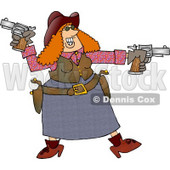 Happy Redhead Cowgirl Target Practicing with Two Pistols Clipart © djart #4401