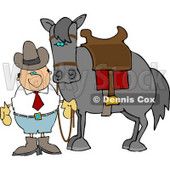 Cowboy Standing Beside a Saddled Horse Clipart © Dennis Cox #4402