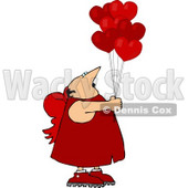 Valentine's Day Cupid Man Holding Red Heart Balloons Clipart © Dennis Cox #4403