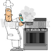 Male Chef Lifting a Smoking Skillet from a Hot Stove Clipart © Dennis Cox #4405