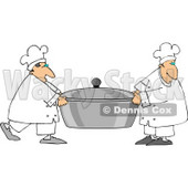 Two Chefs Carrying a Large Oversized Pot of Food Clipart © Dennis Cox #4408