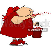 Saint Valentine's Day Cupid Blowing Love Hearts Into the Air Clipart © Dennis Cox #4414