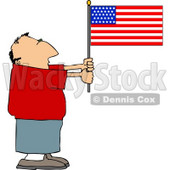 Patriotic Man Holding an American Flag Clipart © Dennis Cox #4415