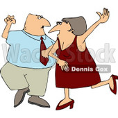 Man and Woman, Husband and Wife Dancing Together On a Dance Floor Clipart © Dennis Cox #4416