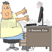 Man's Computer Monitor Blowing Up In His Face Clipart © djart #4417