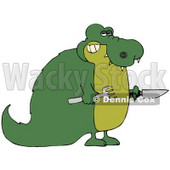 Clipart Illustration of a Hungry Green Gator Holding A Knife And Fork © djart #44173