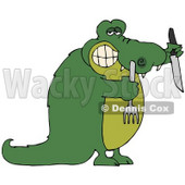 Clipart Illustration of a Hungry Green Croc Holding A Knife And Fork © djart #44174