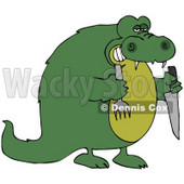 Clipart Illustration of a Hungry Green Crocodile Holding A Knife And Fork © djart #44175