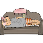 Male Couch Potato Laying On His Couch, Watching TV, and Drinking Beer Clipart © djart #4418