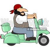 Harley Biker Man Wearing a Bandanna and Driving a Motor Scooter Clipart © djart #4420