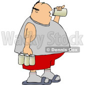 Obese Man Drinking a Can of Beer from a Six Pack Clipart © Dennis Cox #4422
