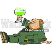Royalty-Free (RF) Clip Art Illustration of a Drunk Leprechaun Sitting On The Floor And Toasting © Dennis Cox #442567