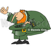 Royalty-Free (RF) Clip Art Illustration of a Leprechaun Bowing And Holding His Hat © Dennis Cox #442568