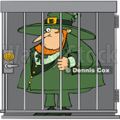 Royalty-Free (RF) Clip Art Illustration of a Locked Up Leprechaun  © Dennis Cox #442570