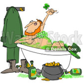 Royalty-Free (RF) Clip Art Illustration of a Leprechaun Bathing With Green Suds And Alcohol © djart #442573