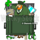Royalty-Free (RF) Clip Art Illustration of a Leprechaun Dumpster Diving © Dennis Cox #442574