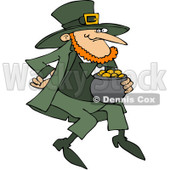 Royalty-Free (RF) Clip Art Illustration of a Leprechaun Carrying A Pot Of Gold © djart #442577