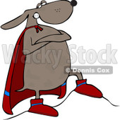 Royalty-Free (RF) Clip Art Illustration of a Super Hero Dog Standing Proudly In His Cape © Dennis Cox #442579