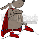 Royalty-Free (RF) Clip Art Illustration of a Super Dog Standing Proudly In His Cape © djart #442583