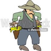 Royalty-Free (RF) Clip Art Illustration of a Cowboy Drawing Taser Guns © djart #442586