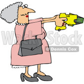 Royalty-Free (RF) Clip Art Illustration of a Granny Defending Herself With A Taser Gun © Dennis Cox #442588