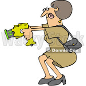 Royalty-Free (RF) Clip Art Illustration of a Woman Defending Herself With A Taser Gun © djart #442592