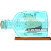 Royalty-Free (RF) Clip Art Illustration of a Man Trapped In A Bottle © djart #442595