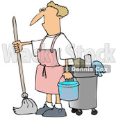 Royalty-Free (RF) Clip Art Illustration of a Man Mopping In A Pink Apron © djart #442596