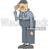 Royalty-Free (RF) Clip Art Illustration of a Tall Worker Man Scratching His Head © djart #442599