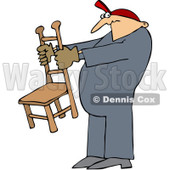 Royalty-Free (RF) Clip Art Illustration of a Worker Man Holding A Chair © djart #442607