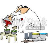 Royalty-Free (RF) Clip Art Illustration of a Man Refilling Printer Ink Cartridges © Dennis Cox #442608