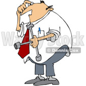 Royalty-Free (RF) Clip Art Illustration of a Confused Businessman Holding A Lug Wrench © djart #442609