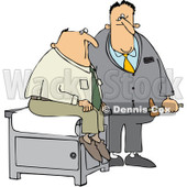 Royalty-Free (RF) Clip Art Illustration of a Doctor Holding A Reflex Hammer By His Patient © Dennis Cox #442612
