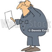 Royalty-Free (RF) Clip Art Illustration of a Confused Worker Man Reading A Document © djart #442616